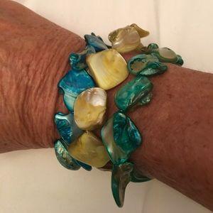 Triple String Aqua Bracelet